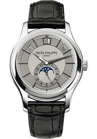 Patek Philippe 40mm Annual Calendar Compicated Watch Rhodium Dial 5205G
