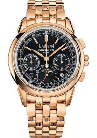 Patek Philippe 41mm Grand Complications Chronograph Perpetual Calendar - Rose Gold - Ebony Black Sunburst Dial Black Dial 5270/1R