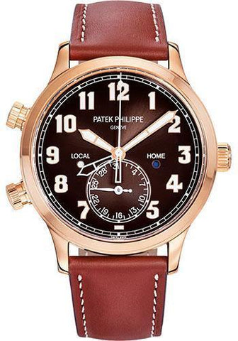 Patek Philippe 42mm Complications Calatrava Pilot Travel Time - 42mm - Rose Gold - Brown Sunburst Dial Brown Dial 5524R
