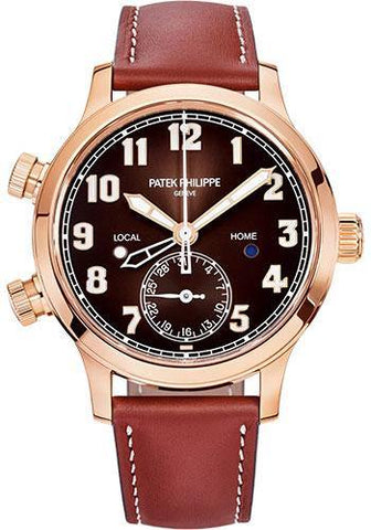 Patek Philippe 37.5mm Complications Calatrava Pilot Travel Time - 37.5mm - Rose Gold - Brown Sunburst Dial Brown Dial 7234R