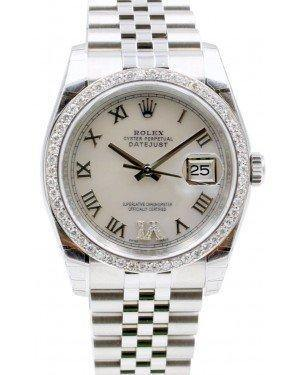 Rolex Datejust 116200 36mm White Roman Pave 6 Diamond Bezel Stainless Steel Jubilee - Fresh - NY WATCH LAB
