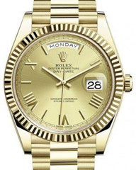 Rolex Day-Date 40 Yellow Gold Champagne Roman Dial & Fluted Bezel President Bracelet 228238 -  Fresh