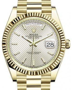 Rolex Day-Date 40 Yellow Gold Silver Diagonal Motif Index Dial & Fluted Bezel President Bracelet 228238 -  Fresh