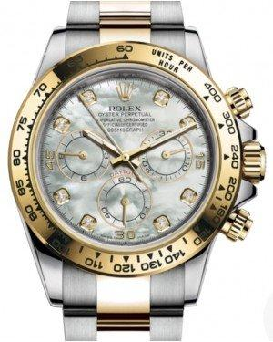Rolex Daytona Yellow Gold/Steel White Mother of Pearl Diamond Dial Yellow Gold Bezel Oyster Bracelet 116503 - Fresh