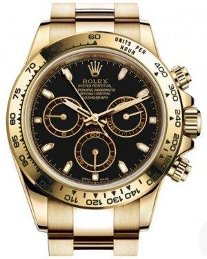 Rolex Daytona Yellow Gold Black Index Dial Yellow Gold Bezel Oyster Bracelet 116508 - Fresh