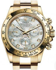 Rolex Daytona Yellow Gold White Mother of Pearl Diamond Dial Yellow Gold Bezel Oyster Bracelet 116508 - Fresh