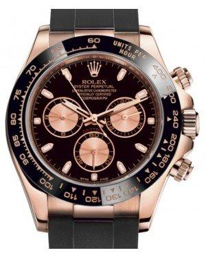 Rolex Daytona Rose Gold Black/Pink Index Dial Ceramic Bezel Oysterflex Rubber Bracelet 116515LN - Fresh