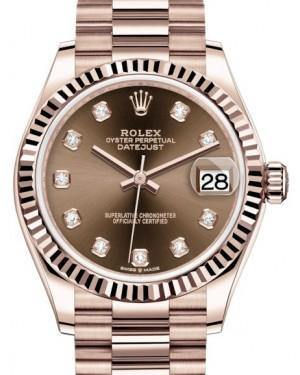 Rolex Datejust 31 Lady Midsize Rose Gold Chocolate Diamond Dial & Fluted Bezel President Bracelet 278275 - Fresh - NY WATCH LAB