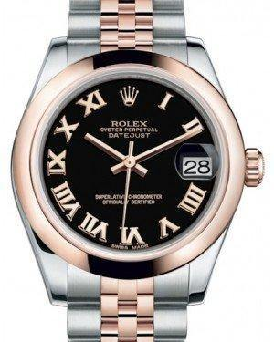 Rolex Datejust 31 Lady Midsize Rose Gold/Steel Black Roman Dial & Smooth Domed Bezel Jubilee Bracelet 178241 - Fresh - NY WATCH LAB