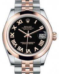 Rolex Datejust 31 Lady Midsize Rose Gold/Steel Black Roman Dial & Smooth Domed Bezel Jubilee Bracelet 178241 - Fresh
