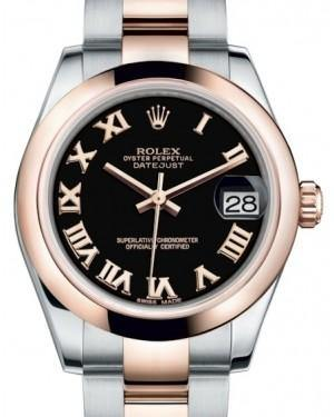 Rolex Datejust 31 Lady Midsize Rose Gold/Steel Black Roman Dial & Smooth Domed Bezel Oyster Bracelet 178241 - Fresh