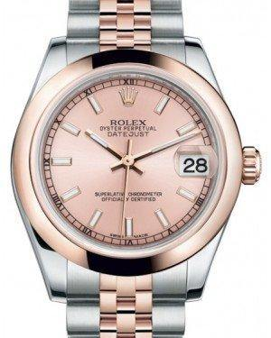 Rolex Datejust 31 Lady Midsize Rose Gold/Steel Pink Index Dial & Smooth Domed Bezel Jubilee Bracelet 178241 - Fresh - NY WATCH LAB