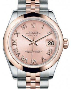 Rolex Datejust 31 Lady Midsize Rose Gold/Steel Pink Roman Dial & Smooth Domed Bezel Jubilee Bracelet 178241 - Fresh