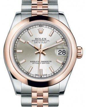 Rolex Datejust 31 Lady Midsize Rose Gold/Steel Silver Index Dial & Smooth Domed Bezel Jubilee Bracelet 178241 - Fresh