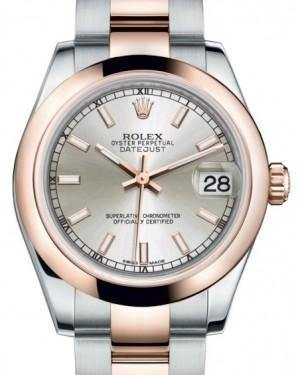 Rolex Datejust 31 Lady Midsize Rose Gold/Steel Silver Index Dial & Smooth Domed Bezel Oyster Bracelet 178241 - Fresh