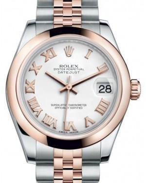 Rolex Datejust 31 Lady Midsize Rose Gold/Steel White Roman Dial & Smooth Domed Bezel Jubilee Bracelet 178241 - Fresh