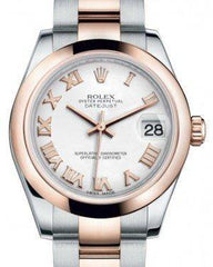 Rolex Datejust 31 Lady Midsize Rose Gold/Steel White Roman Dial & Smooth Domed Bezel Oyster Bracelet 178241 - Fresh