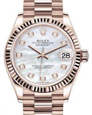 Rolex Datejust 31 Lady Midsize Rose Gold White Mother of Pearl Diamond Dial & Fluted Bezel President Bracelet 278275 - Fresh