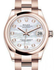 Rolex Datejust 31 Lady Midsize Rose Gold White Mother of Pearl Diamond Dial & Smooth Domed Bezel Oyster Bracelet 278245 - Fresh - NY WATCH LAB