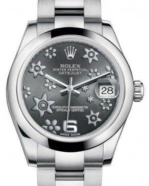 Rolex Datejust 31 Lady Midsize White Gold/Steel Dark Rhodium Floral Motif Arabic Dial & Fluted Bezel Oyster Bracelet 178240 - Fresh