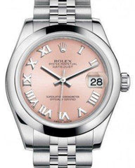 Rolex Datejust 31 Lady Midsize Stainless Steel Pink Roman Dial & Smooth Domed Bezel Jubilee Bracelet 178240 - Fresh