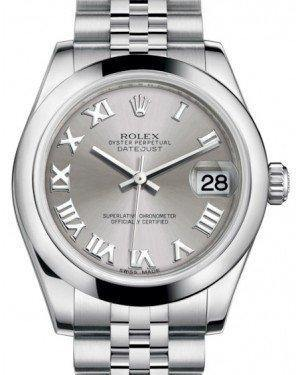 Rolex Datejust 31 Lady Midsize Stainless Steel Rhodium Roman Dial & Smooth Domed Bezel Jubilee Bracelet 178240 - Fresh - NY WATCH LAB