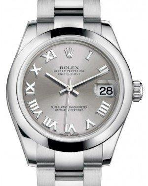 Rolex Datejust 31 Lady Midsize Stainless Steel Rhodium Roman Dial & Smooth Domed Bezel Oyster Bracelet 178240 - Fresh