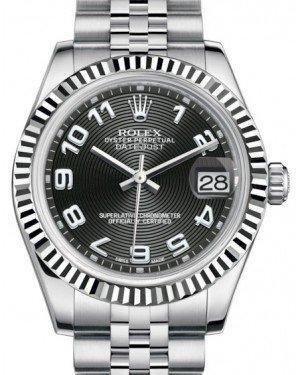 Rolex Datejust 31 Lady Midsize White Gold/Steel Black Concentric Circle Arabic Dial & Fluted Bezel Jubilee Bracelet 178274 - Fresh