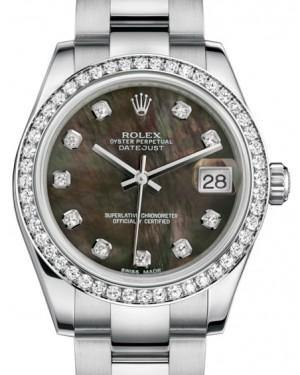 Rolex Datejust 31 Lady Midsize White Gold/Steel Black Mother of Pearl Diamond Dial & Diamond Bezel Oyster Bracelet 178384 - Fresh
