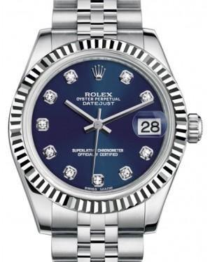 Rolex Datejust 31 Lady Midsize White Gold/Steel Blue Diamond Dial & Fluted Bezel Jubilee Bracelet 178274 - Fresh