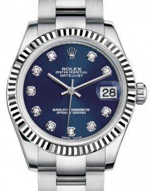 Rolex Datejust 31 Lady Midsize White Gold/Steel Blue Diamond Dial & Fluted Bezel Oyster Bracelet 178274 - Fresh - NY WATCH LAB
