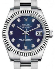 Rolex Datejust 31 Lady Midsize White Gold/Steel Blue Diamond Dial & Fluted Bezel Oyster Bracelet 178274 - Fresh