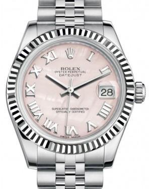 Rolex Datejust 31 Lady Midsize White Gold/Steel Pink Mother of Pearl Roman Dial & Fluted Bezel Jubilee Bracelet 178274 - Fresh