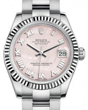 Rolex Datejust 31 Lady Midsize White Gold/Steel Pink Mother of Pearl Roman Dial & Fluted Bezel Oyster Bracelet 178274 - Fresh