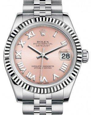 Rolex Datejust 31 Lady Midsize White Gold/Steel Pink Roman Dial & Fluted Bezel Jubilee Bracelet 178274 - Fresh - NY WATCH LAB