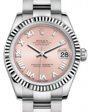 Rolex Datejust 31 Lady Midsize White Gold/Steel Pink Roman Dial & Fluted Bezel Oyster Bracelet 178274 - Fresh