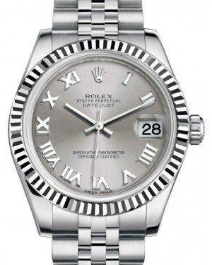 Rolex Datejust 31 Lady Midsize White Gold/Steel Rhodium Roman Dial & Fluted Bezel Jubilee Bracelet 178274 - Fresh