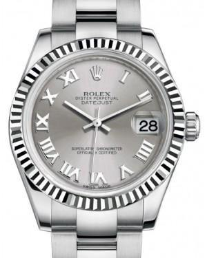 Rolex Datejust 31 Lady Midsize White Gold/Steel Rhodium Roman Dial & Fluted Bezel Oyster Bracelet 178274 - Fresh
