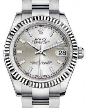 Rolex Datejust 31 Lady Midsize White Gold/Steel Silver Index Dial & Fluted Bezel Oyster Bracelet 178274 - Fresh