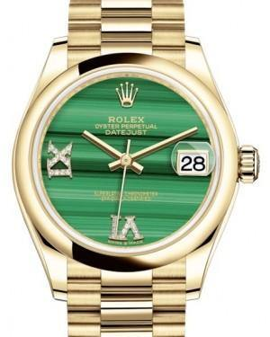 Rolex Datejust 31 Lady Midsize Yellow Gold Green Malachite VI IX Diamond Dial & Smooth Domed Bezel President Bracelet 278248 - Fresh - NY WATCH LAB