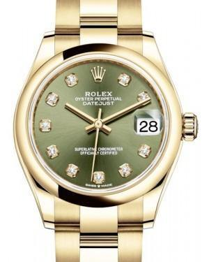 Rolex Datejust 31 Lady Midsize Yellow Gold Olive Green Diamond Dial & Smooth Domed Bezel Oyster Bracelet 278248 - Fresh