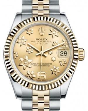 Rolex Datejust 31 Lady Midsize Yellow Gold/Steel Champagne Floral Motif Arabic Dial & Fluted Bezel Jubilee Bracelet 178273 - Fresh - NY WATCH LAB