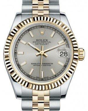 Rolex Datejust 31 Lady Midsize Yellow Gold/Steel Silver Index Dial & Fluted Bezel Jubilee Bracelet 178273 - Fresh