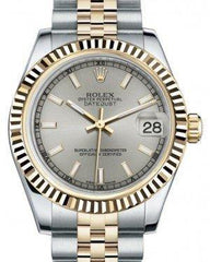 Rolex Datejust 31 Lady Midsize Yellow Gold/Steel Silver Index Dial & Fluted Bezel Jubilee Bracelet 178273 - Fresh - NY WATCH LAB