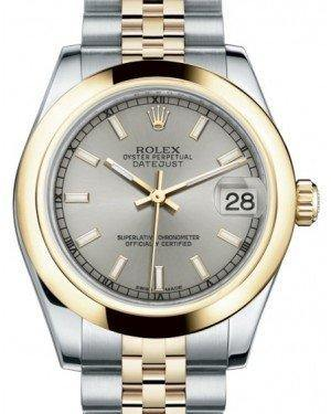 Rolex Datejust 31 Lady Midsize Yellow Gold/Steel Silver Index Dial & Smooth Domed Bezel Jubilee Bracelet 178243 - Fresh