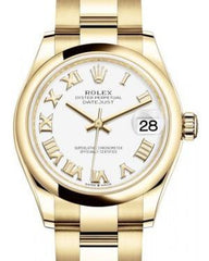 Rolex Datejust 31 Lady Midsize Yellow Gold White Roman Dial & Smooth Domed Bezel Oyster Bracelet 278248 - Fresh - NY WATCH LAB