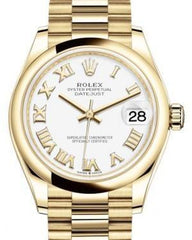 Rolex Datejust 31 Lady Midsize Yellow Gold White Roman Dial & Smooth Domed Bezel President Bracelet 278248 - Fresh