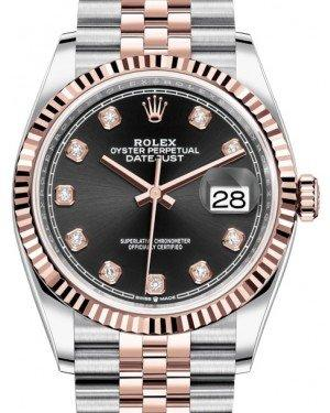 Rolex Datejust 36 Rose Gold/Steel Black Diamond Dial & Fluted Bezel Jubilee Bracelet 126231 - Fresh