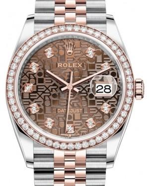 Rolex Datejust 36 Rose Gold/Steel Chocolate Jubilee Diamond Dial & Diamond Bezel Jubilee Bracelet 126281RBR - Fresh