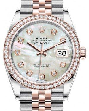 Rolex Datejust 36 Rose Gold/Steel White Mother of Pearl Diamond Dial & Diamond Bezel Jubilee Bracelet 126281RBR - Fresh